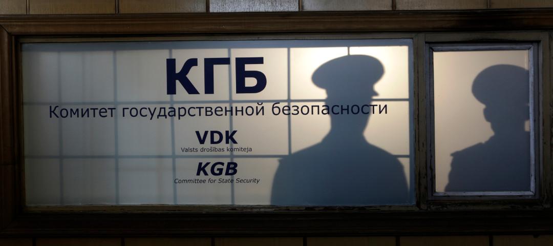 Shadows of two men inside a KGB headquarters (Ints Kalnins/Reuters)